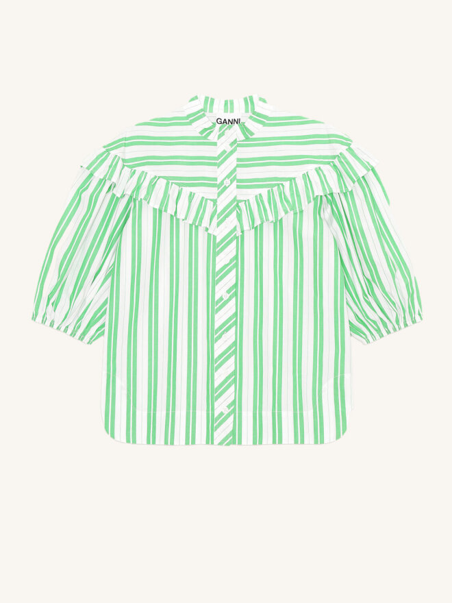 Ganni - STRIPE COTTON BLUSE