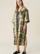 Ganni - Crinkled satin v-neck dress