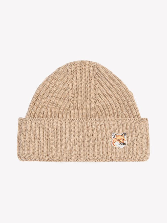 Maison Kitsune - FOX HEAD PATCH RIBBED HAT BEIGE