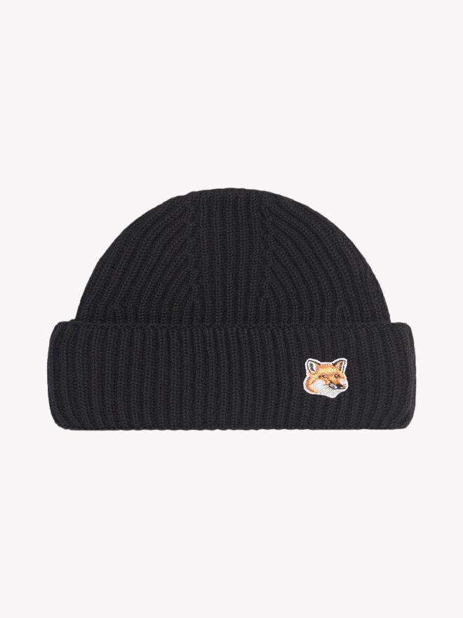 Maison Kitsune - FOX HEAD PATCH RIBBED HAT SORT