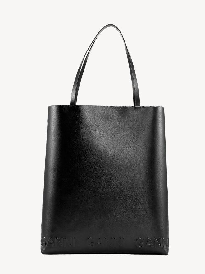Ganni - Stor Tote Taske i sort læder