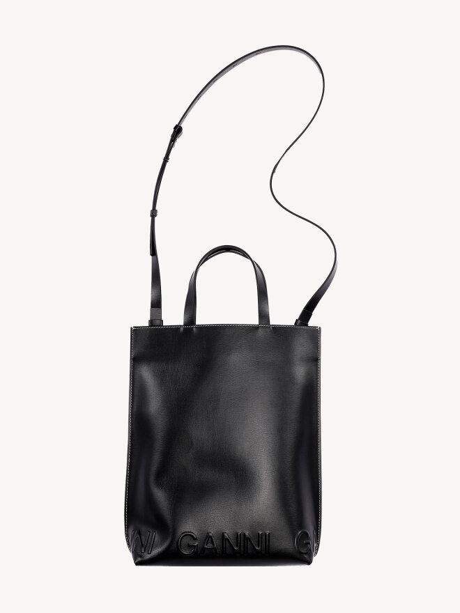 Ganni - Mellemstor Tote taske i Sort læder